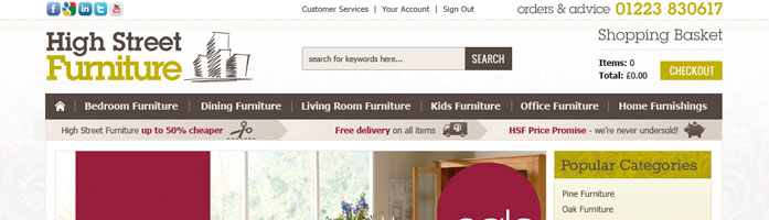high street furniture ecommerce design