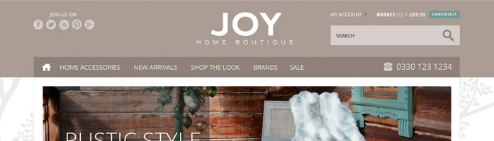 joy home boutique ecommerce website